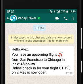whatapp chatbot for travel